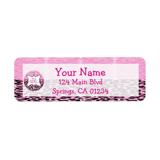Pink Zebra,Leopard Girl Baby Shower Address Labels