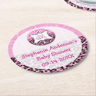 Pink Zebra,Leopard Girl Baby Shower Paper Coasters Round Paper Coaster