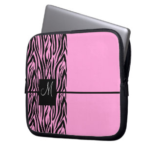 Pink Zebra-Monogrammed Laptop Sleeve