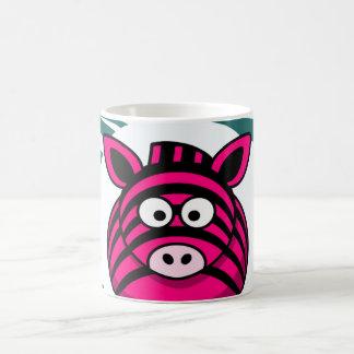 Pink Zebra on Aqua Teal Zebra Print Zoo Pattern Basic White Mug
