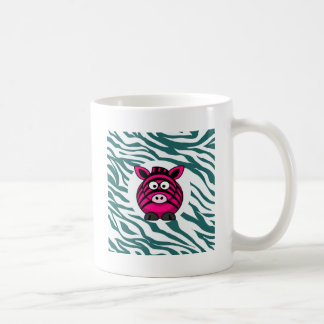 Pink Zebra on Aqua Teal Zebra Print Zoo Pattern Coffee Mug