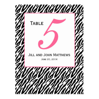 Pink Zebra Pattern Wedding Table Number Card