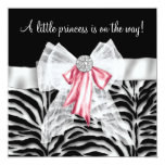 Pink Zebra Pink Black Princess Baby Shower Invitations