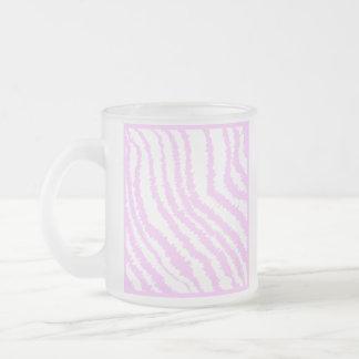 Pink Zebra Print, Animal Pattern. Frosted Glass Mug