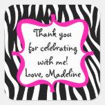 Pink Zebra Print Birthday Party Favour Square Sticker