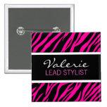 Pink Zebra Print (Custom) Hair Salon Name Badge
