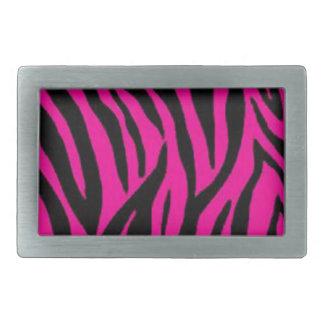 Pink zebra print design rectangular belt buckle