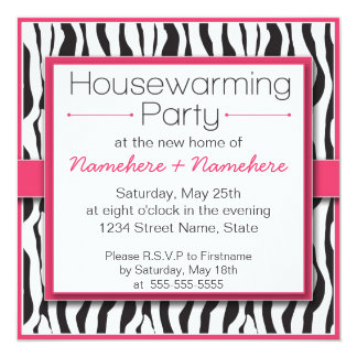 Pink Zebra Print Housewarming Party Invitations