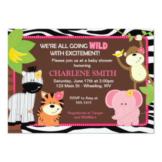 Pink Zebra Print Jungle Baby Shower Invitations