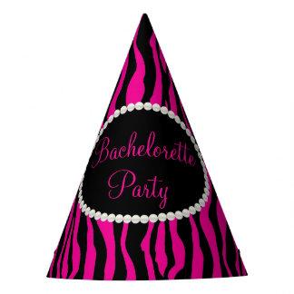 Pink Zebra Print Pearls, Bachelorette Party Hats