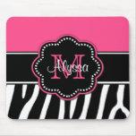 Pink Zebra Print Personalised Mousepad