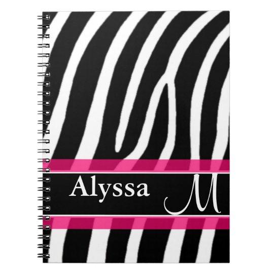 Pink Zebra Print Personalised Notebook
