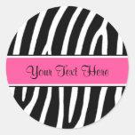 Pink Zebra Print Personalised Stickers