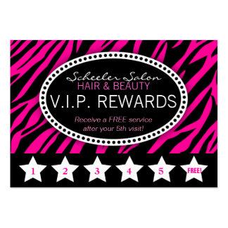 Pink Zebra Print Salon Loyalty Rewards Card Large Business Cards (Pack Of 100)