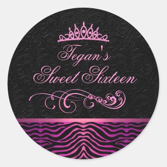 Pink Zebra Print Sweet 16 Envelope Sticker/seal Classic Round Sticker