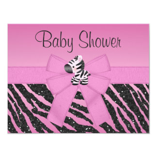 Pink Zebra Printed Bow & Glitter Look Baby Shower 11 Cm X 14 Cm Invitation Card
