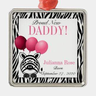 Pink Zebra Proud New Daddy Custom Silver-Colored Square Decoration