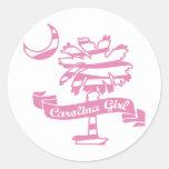 Pink Zebra Round Stickers