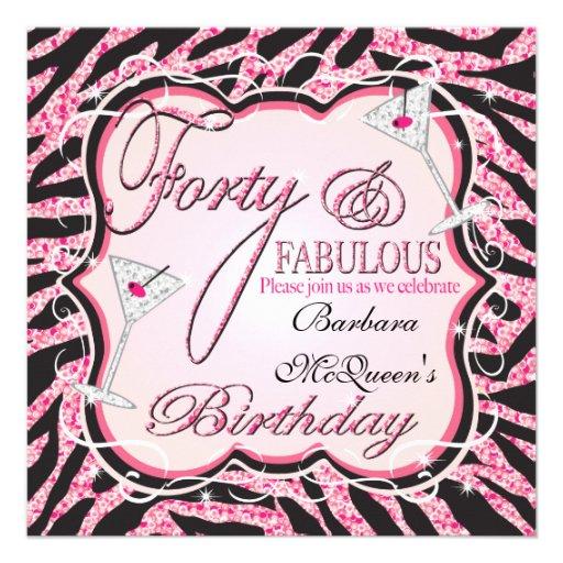 Pink Zebra Sequin 40th Birthday Party Invitations 13 Cm X