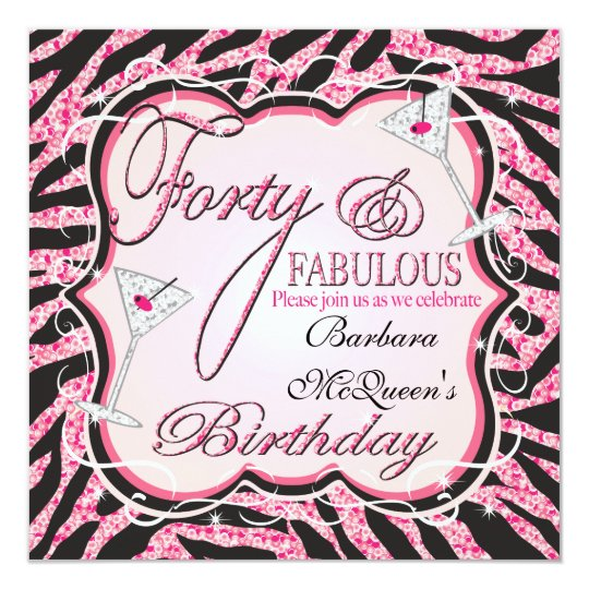 Pink Zebra Sequin 40th Birthday Party Invitations