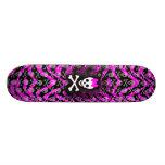 Pink Zebra Skull Princess Skateboard