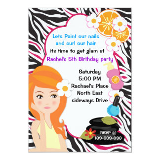 Pink Zebra spa party invitation