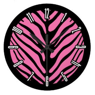 Pink Zebra Strip Pattern Large Clock