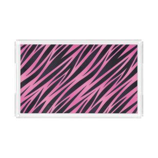 Pink Zebra Stripe Background Acrylic Tray