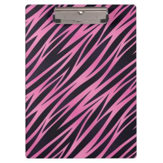 Pink Zebra Stripe Background Clipboard