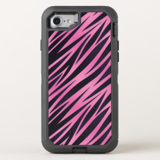 Pink Zebra Stripe Background OtterBox Defender iPhone 8/7 Case