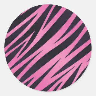 Pink Zebra Stripe Background Round Sticker