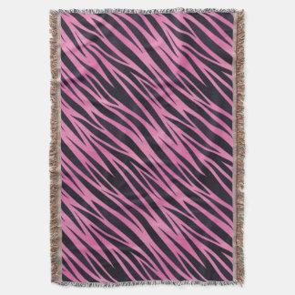 Pink Zebra Stripe Background Throw Blanket