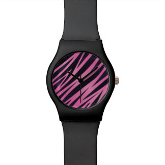 Pink Zebra Stripe Background Wrist Watches