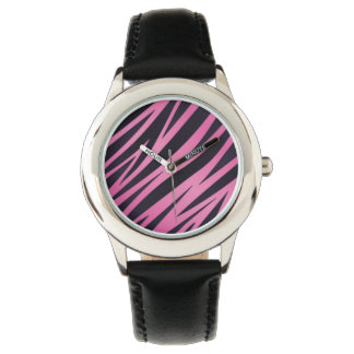 Pink Zebra Stripe Background Wristwatches