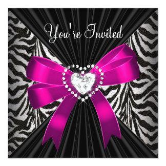 Pink Zebra Stripe Black Birthday Party Image 13 Cm X 13 Cm Square Invitation Card