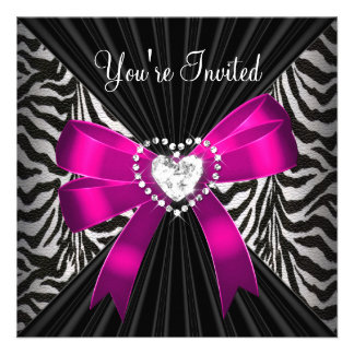 Pink Zebra Stripe Black Birthday Party Image Invite