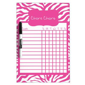 Pink Zebra Stripe Chore Chart Dry Erase Board