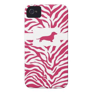 Pink Zebra Stripe w/Dachshund iPhone 4 Cover