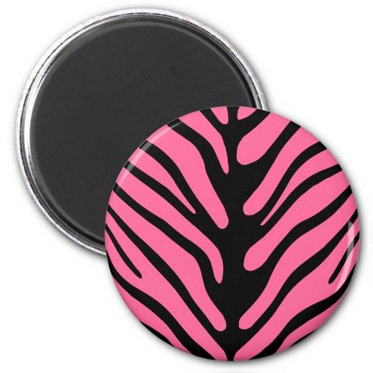 Pink Zebra Stripes 6 Cm Round Magnet