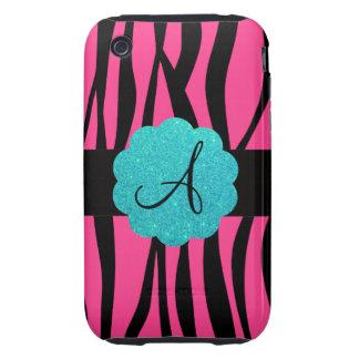 Pink zebra stripes monogram iPhone 3 tough cover