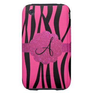 Pink zebra stripes monogram iPhone 3 tough covers