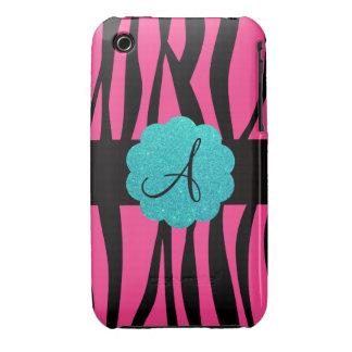 Pink zebra stripes monogram iPhone 3 cover