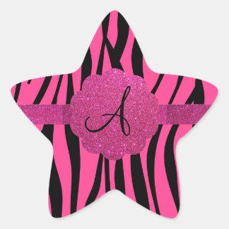 Pink zebra stripes monogram star sticker