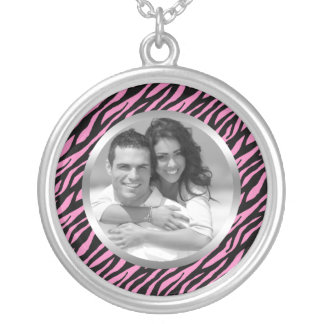 Pink Zebra Stripes Photo Silver Plated Necklace