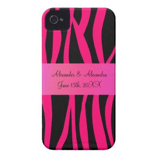 Pink zebra stripes wedding favors iPhone 4 case