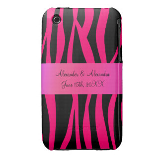 Pink zebra stripes wedding favors iPhone 3 covers