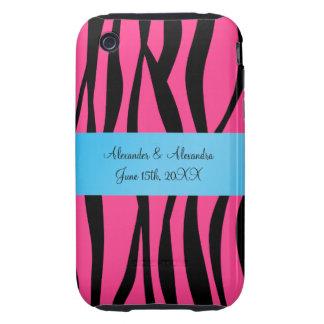 Pink zebra stripes wedding favors iPhone 3 tough covers