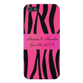 Pink zebra stripes wedding favors covers for iPhone 5
