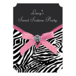 Pink Zebra Sweet 16 Birthday Party Personalized Announcements