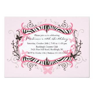 Pink Zebra Sweet Sixteen Birthday Invitation